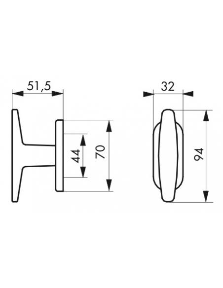 Bouton pour fenêtre Selene, carré 7mm, nickelé satiné - Serrurerie de Picardie Poignée