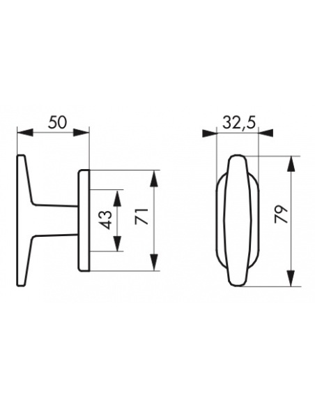 Bouton pour fenêtre Coq, carré 7mm, noir - Serrurerie de Picardie Poignée
