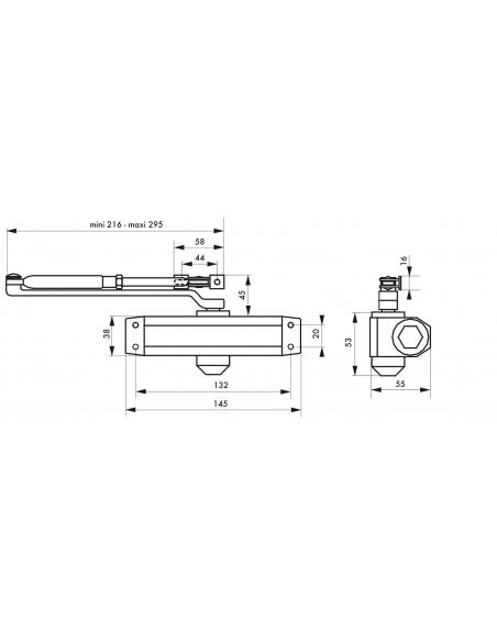 Ferme porte hydraulique, réversible, argent, pour porte - 30Kg - Serrurerie de Picardie Equipement
