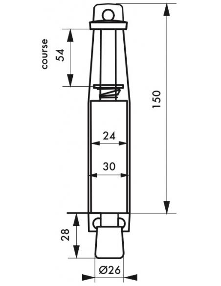 Arrêt de porte, longueur 150mm, laqué argent - Serrurerie de Picardie Equipement