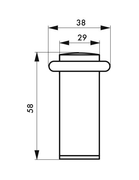 Butoir de sol, satiné, Ø 29 mm, hauteur 58 mm - Serrurerie de Picardie Equipement