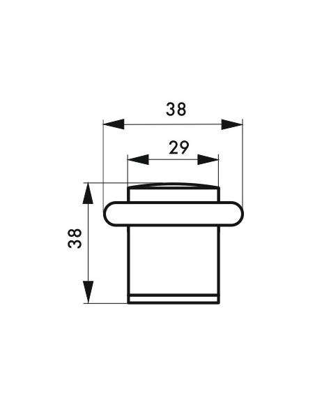 Butoir de sol, satiné, Ø 29 mm, hauteur 38 mm - Serrurerie de Picardie Equipement