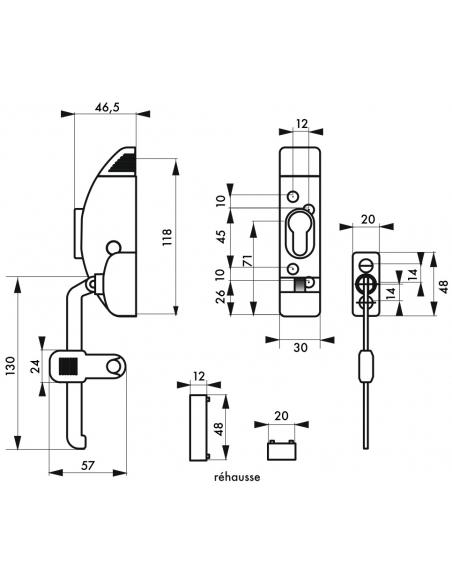 Entrebailleur de fenêtre à cylindre, 1 ou 2 vantaux, 3 clés - Serrurerie de Picardie Equipement