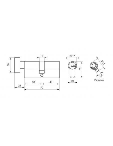 Cylindre de serrure à bouton, 30Bx40mm, nickel, 5 clés réversibles - Serrurerie de Picardie Cylindre de serrure
