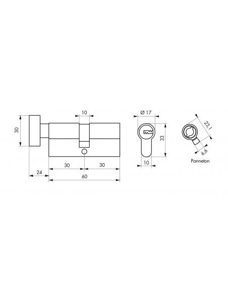 Cylindre de serrure à bouton, 30Bx30mm, nickel, 5 clés réversibles - Serrurerie de Picardie Cylindre de serrure