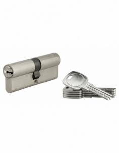 Cylindre de serrure à double entrée, 40x40mm, nickel, 5 clés réversibles - Serrurerie de Picardie Cylindre de serrure