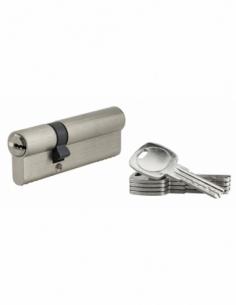 Cylindre de serrure à double entrée, 30x60mm, nickel, 5 clés réversibles - Serrurerie de Picardie Cylindre de serrure