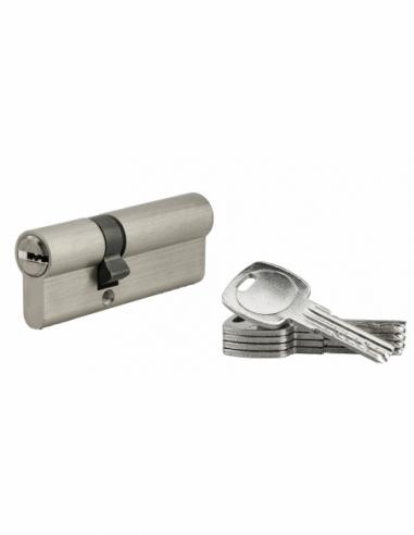 Cylindre de serrure à double entrée, 30x50mm, nickel, 5 clés réversibles - Serrurerie de Picardie Cylindre de serrure