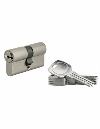 Cylindre de serrure à double entrée, 30x30mm, nickel, 5 clés réversibles - Serrurerie de Picardie Cylindre de serrure