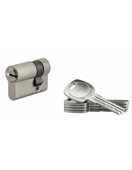 Demi-cylindre de serrure, 30x10mm, nickel, 5 clés réversibles - Serrurerie de Picardie Cylindre de serrure