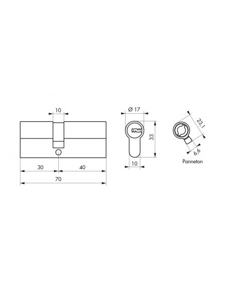 Cylindre de serrure à double entrée, 30x40mm, nickel, 4 clés réversibles - Serrurerie de Picardie Cylindre de serrure