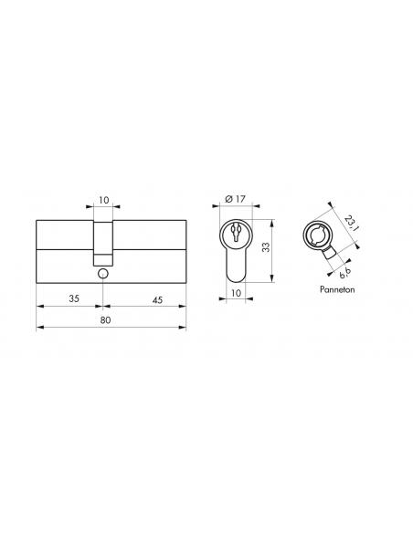 Cylindre de serrure à double entrée, 35x45mm, laiton, 3 clés - Serrurerie de Picardie Cylindre de serrure