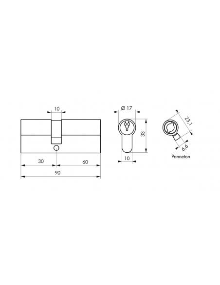 Cylindre de serrure à double entrée, 30x60mm, nickel, 3 clés - Serrurerie de Picardie Cylindre de serrure