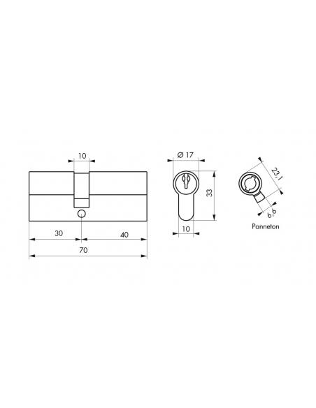 Cylindre de serrure à double entrée, 30x40mm, nickel, 3 clés - Serrurerie de Picardie Cylindre de serrure