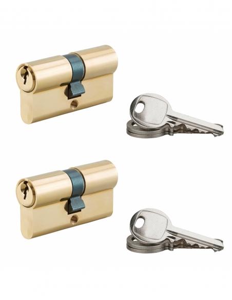 Lot de 2 cylindres de serrure à double entrée, 30x30mm, s'entrouvrant, laiton, 3 clés/cylindre - Serrurerie de Picardie Cylin...