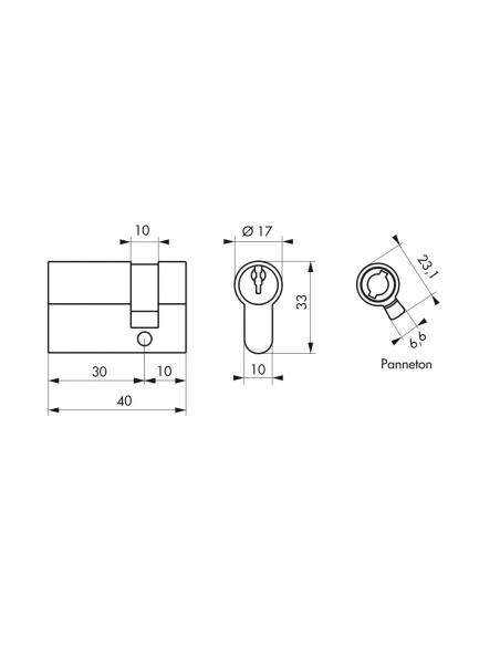 Demi-cylindre de serrure, 30x10mm, laiton, 3 clés - Serrurerie de Picardie Cylindre de serrure