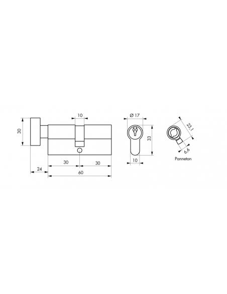 Cylindre de serrure à bouton, 30Bx30mm, nickel, 3 clés - Serrurerie de Picardie Cylindre de serrure