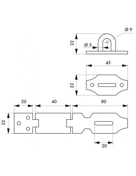 Porte cadenas à recouvrement, 120mm, acier avec vis de pose - Serrurerie de Picardie Cadenas