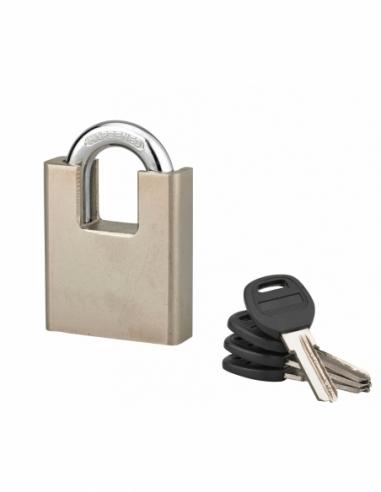 Cadenas à clé Quadra, chantier, 60mm, anse protégée acier cémenté nickelé, 4 clés réversibles - Serrurerie de Picardie Cadenas