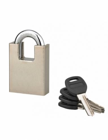Cadenas à clé Quadra, chantier, 50mm, anse protégée acier cémenté nickelé, 4 clés réversibles - Serrurerie de Picardie Cadenas