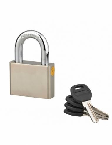 Cadenas à clé rectangulaire Quadra, chantier, 60mm, anse acier cémenté nickelé, 4 clés réversibles - Serrurerie de Picardie C...