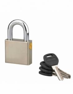 Cadenas à clé rectangulaire Quadra, chantier, 50mm, anse acier cémenté nickelé, 4 clés réversibles - Serrurerie de Picardie C...