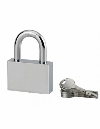 Cadenas à clé rectangulaire Disk, chantier, 60mm, anse acier cémenté nickelé, 4 clés - Serrurerie de Picardie Cadenas