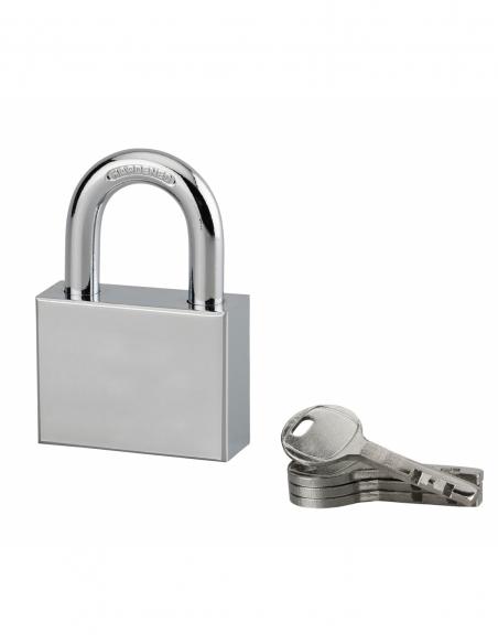 Cadenas à clé rectangulaire Disk, chantier, 50mm, anse acier cémenté nickelé, 4 clés - Serrurerie de Picardie Cadenas