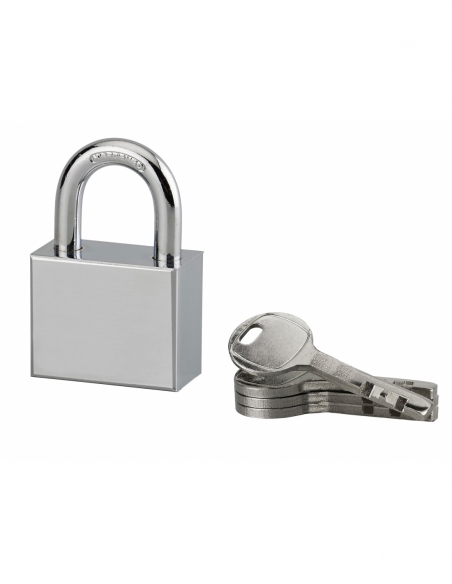 Cadenas à clé rectangulaire Disk, chantier, 40mm, anse acier cémenté nickelé, 4 clés - Serrurerie de Picardie Cadenas