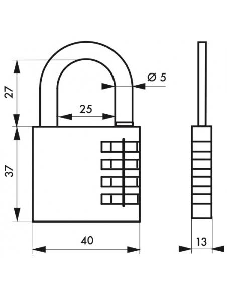 Cadenas à code Venus, intérieur, 40mm, anse acier nickelé, 4 chiffres - Serrurerie de Picardie Cadenas