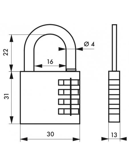 Cadenas à code Venus, intérieur, 30mm, anse acier nickelé, 3 chiffres - Serrurerie de Picardie Cadenas