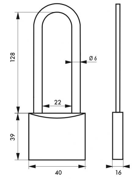 Cadenas à clé SP, anti-corrosion, 45 mm anse haute inox, 2 clés laiton - Serrurerie de Picardie Cadenas