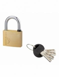 Cadenas à clé SP, extérieur, 40mm, anse acier cémenté nickelé, 4 clés réversibles - Serrurerie de Picardie Cadenas