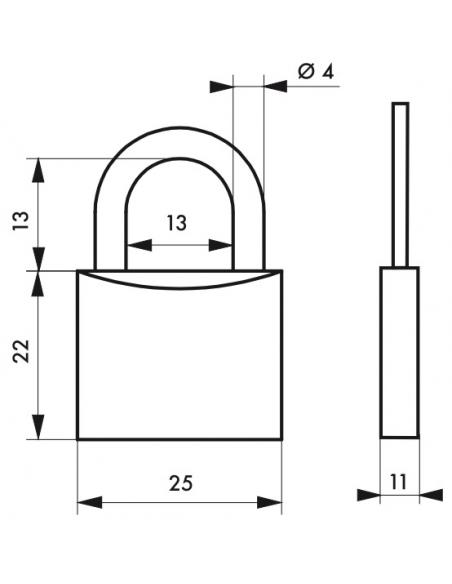 Cadenas à clé SP, bagage, 25mm, anse acier cémenté nickelé, 2 clés - Serrurerie de Picardie Cadenas