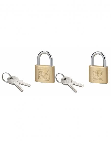 Lot de 2 cadenas SP, intérieur, 35mm, anse acier cémenté, 4 clés, s'entrouvrant - Serrurerie de Picardie Cadenas