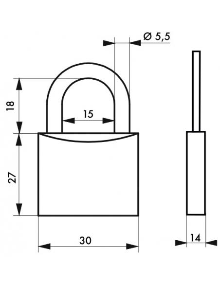 Cadenas à clé SP, intérieur, 30mm, anse acier cémenté, 2 clés - Serrurerie de Picardie Cadenas