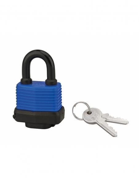 Cadenas à clé SP, extérieur, 40mm, gainé PVC, anse acier cémenté nickelé, 2 clés - Serrurerie de Picardie Cadenas