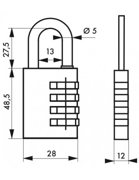 Cadenas à code SP, 28mm, anse acier nickelé, 4 chiffres - Serrurerie de Picardie Cadenas