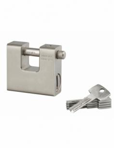 Cadenas à clé Blindé, chantier, 74mm, anse acier cémenté, 5 clés réversibles - THIRARD Cadenas