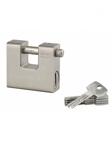 Cadenas à clé Blindé, chantier, 74mm, anse acier cémenté, 5 clés réversibles - Serrurerie de Picardie Cadenas