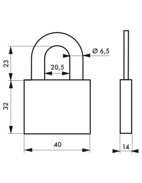 Cadenas à clé, intérieur, ovale, 40mm, anse acier cémenté nickelé, 2 clés - Serrurerie de Picardie Cadenas
