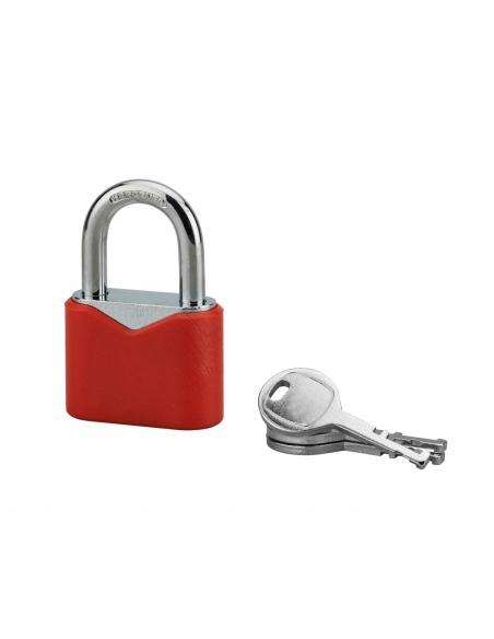 Cadenas à clé, intérieur, ovale, 50mm, gainé PVC, anse acier cémenté, 3 clés - Serrurerie de Picardie Cadenas
