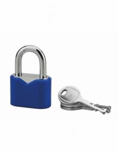 Cadenas à clé, intérieur, ovale, 40mm, gainé PVC, anse acier cémenté, 3 clés - Serrurerie de Picardie Cadenas