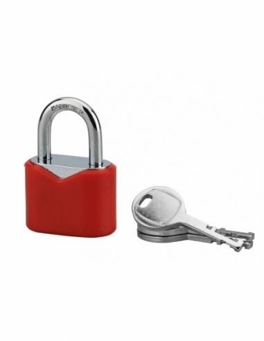 Cadenas à clé, intérieur, ovale, 30mm, gainé PVC, anse acier cémenté, 3 clés - Serrurerie de Picardie Cadenas