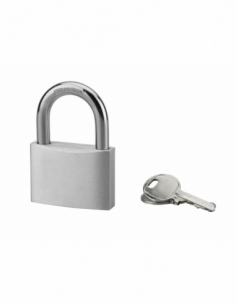 Cadenas à clé Alu, chantier, 60mm, anse acier cémenté nickelé, 3 clés - Serrurerie de Picardie Cadenas