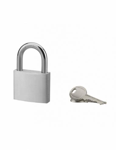 Cadenas à clé, extérieur, alu, 50mm, anse acier nickelé, 2 clés - Serrurerie de Picardie Cadenas