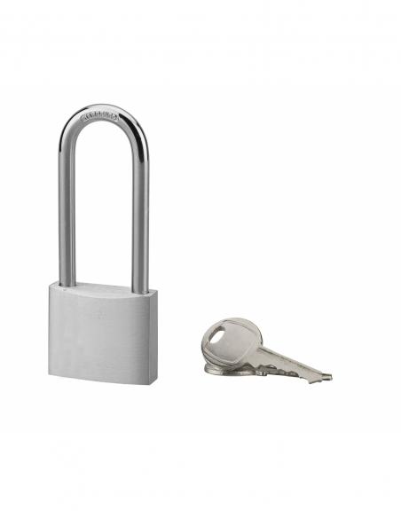 Cadenas à clé, extérieur, alu, 40mm, anse 1/2 haute acier nickelé, 2 clés - Serrurerie de Picardie Cadenas