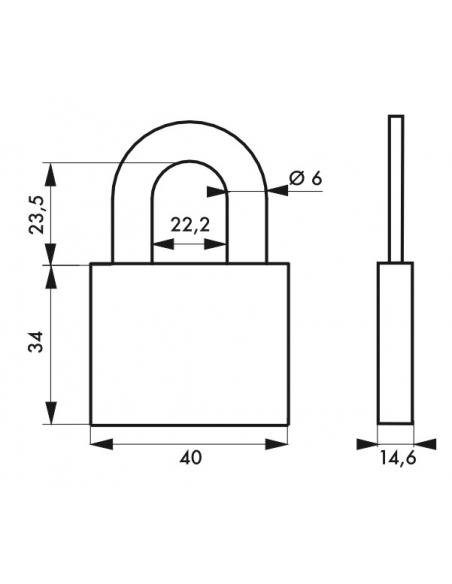 Cadenas à clé, extérieur, alu, 40mm, anse acier nickelé, 2 clés - Serrurerie de Picardie Cadenas