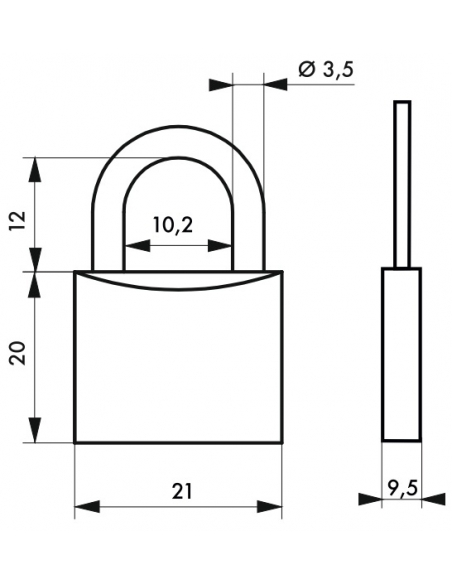 Cadenas à clé, bagage, alu, 20mm, anse acier nickelé, 2 clés - Serrurerie de Picardie Cadenas