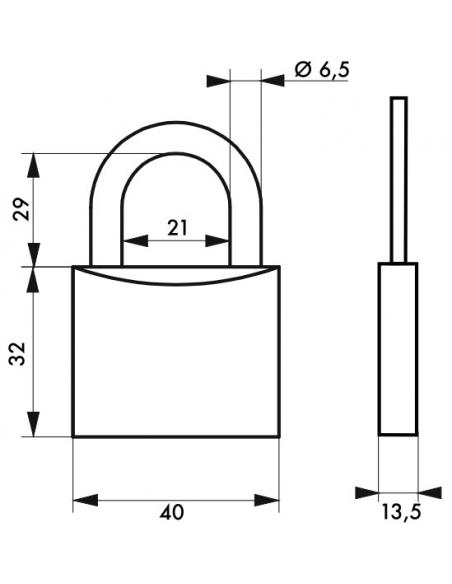 Cadenas à clé, alu, 40mm, anse acier cémenté nickelé, 2 clés - Serrurerie de Picardie Cadenas